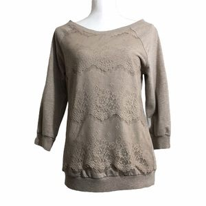 Kit From The Kloth lace/knit pullover sweatshirt